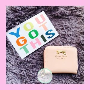 Handbags - Light Pink Mini Wallet Card Holder with Coin Pouch
